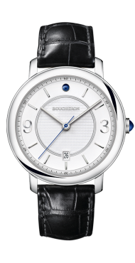 Epure Watch in steel, white dial indexes-Medium
